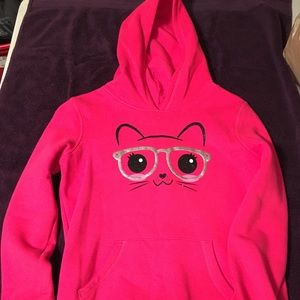 Girls' Hot Pink Kitty Hoodie (Size Large 10/12).